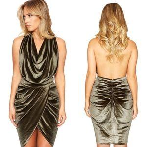 Naked Wardrobe Nordstrom Green Velvet Halter Dress